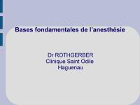 Les bases fondamentales de l'anesthésie