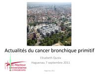Actualités du cancer bronchique primitif