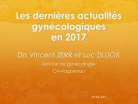 Les dernières actualités gynécologiques en 2017