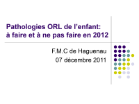 Pathologies ORL de l'enfant