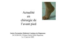 Actualités en chirurgie de l'avant-pied