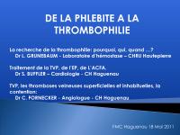 De la phlébite à la thrombophilie