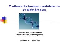 Traitements immunomodulateurs et biothérapies
