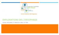 Oesophage Pathologies et Explorations